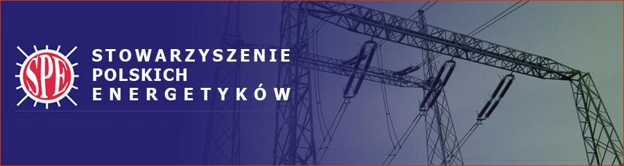 Baner Stowarzyszenia Polskich Energetyków przedstawiający słup wysokiego napięcia