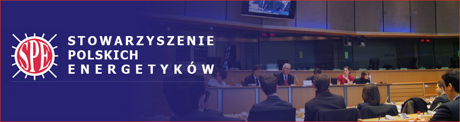Baner Stowarzyszenia Polskich Energetyków przedstawiający aulę wykładową